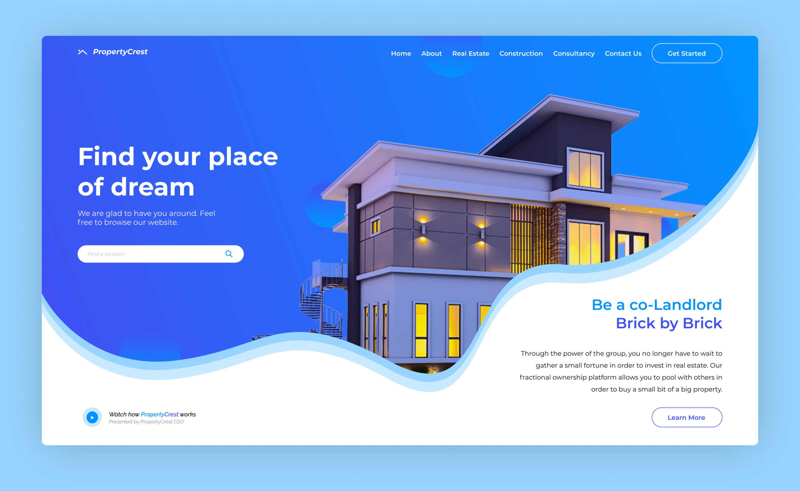 PropertyCrest – Landing Page Design